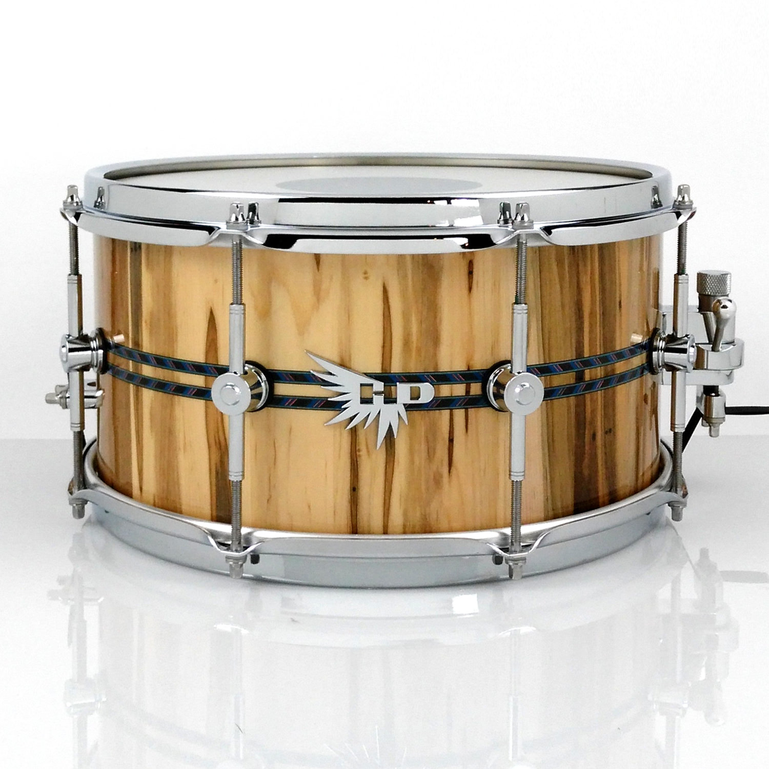 High End Snare Drum Ambrosia Maple Hendrix Drums Stave Double Blue Inlay