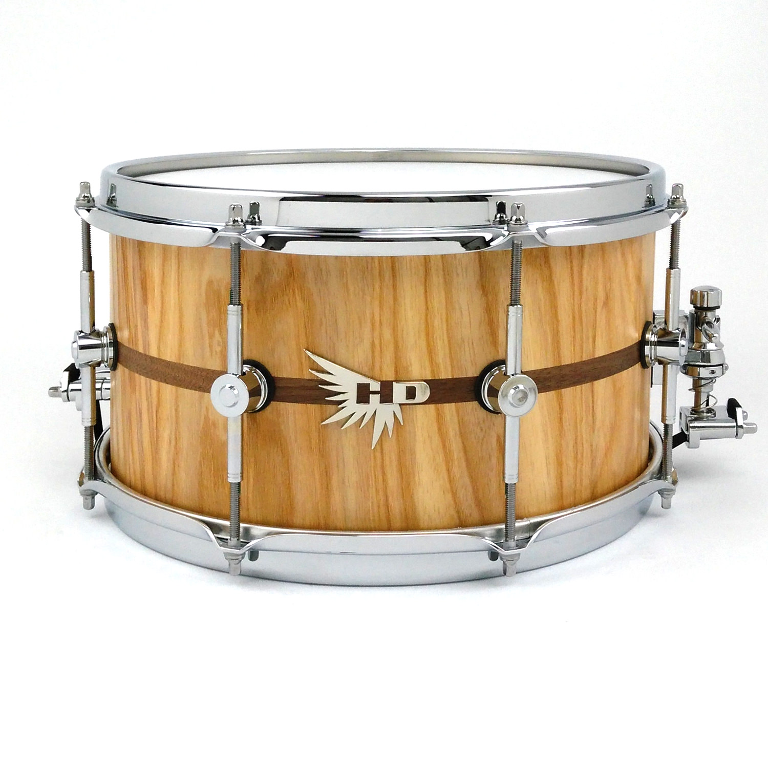 "13"" Stave Snare Drum Ash Hendrix Drums Walnut Inlay"