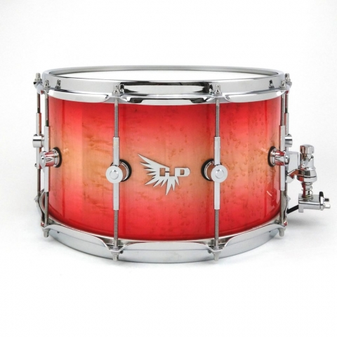 Custom Birdseye Maple Stave Snare Drum Red Hendrix Drums