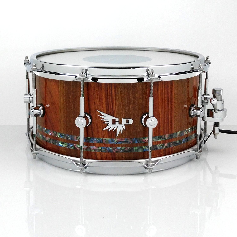 Justin Jeter Bubinga Sapele Snare Drum 14x6.5 Stave Abalone Mixed woods