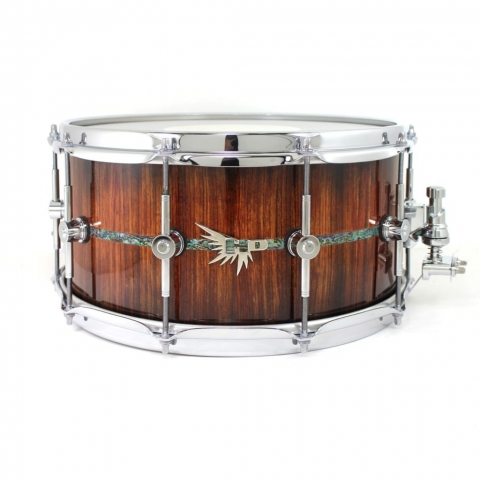 HD Drums Hendrix Bubinga Best Snare Drum Abalone Inlay Stave