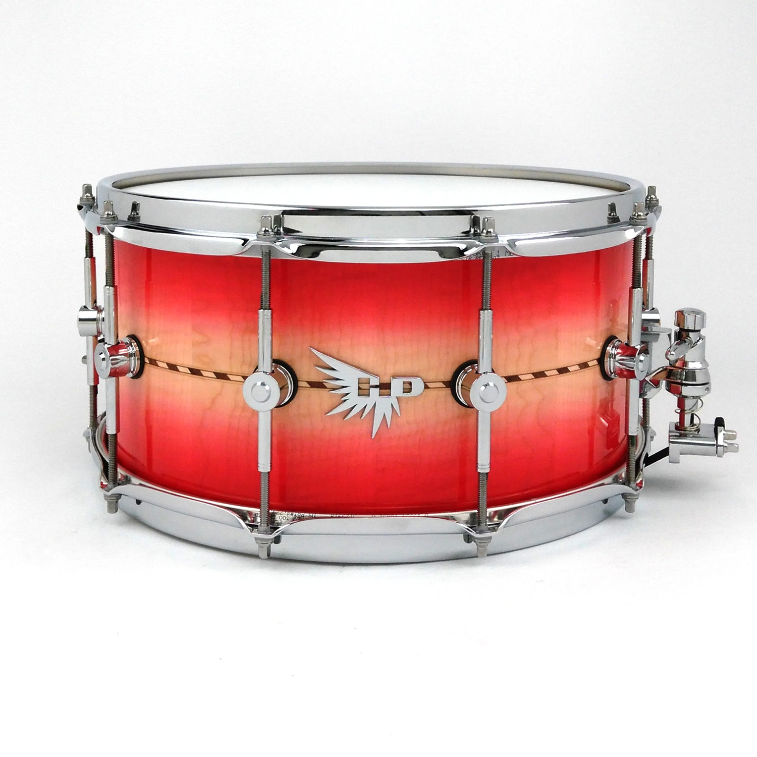 Craviotto Snare Drum Inlay Maple Hendrix  Drums HD 14x7 Red