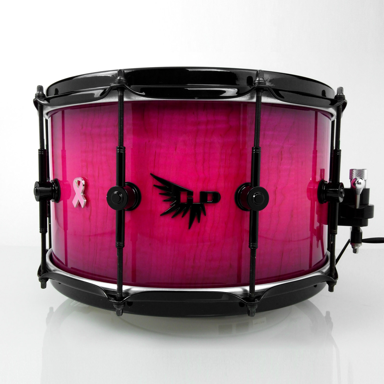 Breast Cancer Snare Drum Pink Hendrix Drums Curly Maple