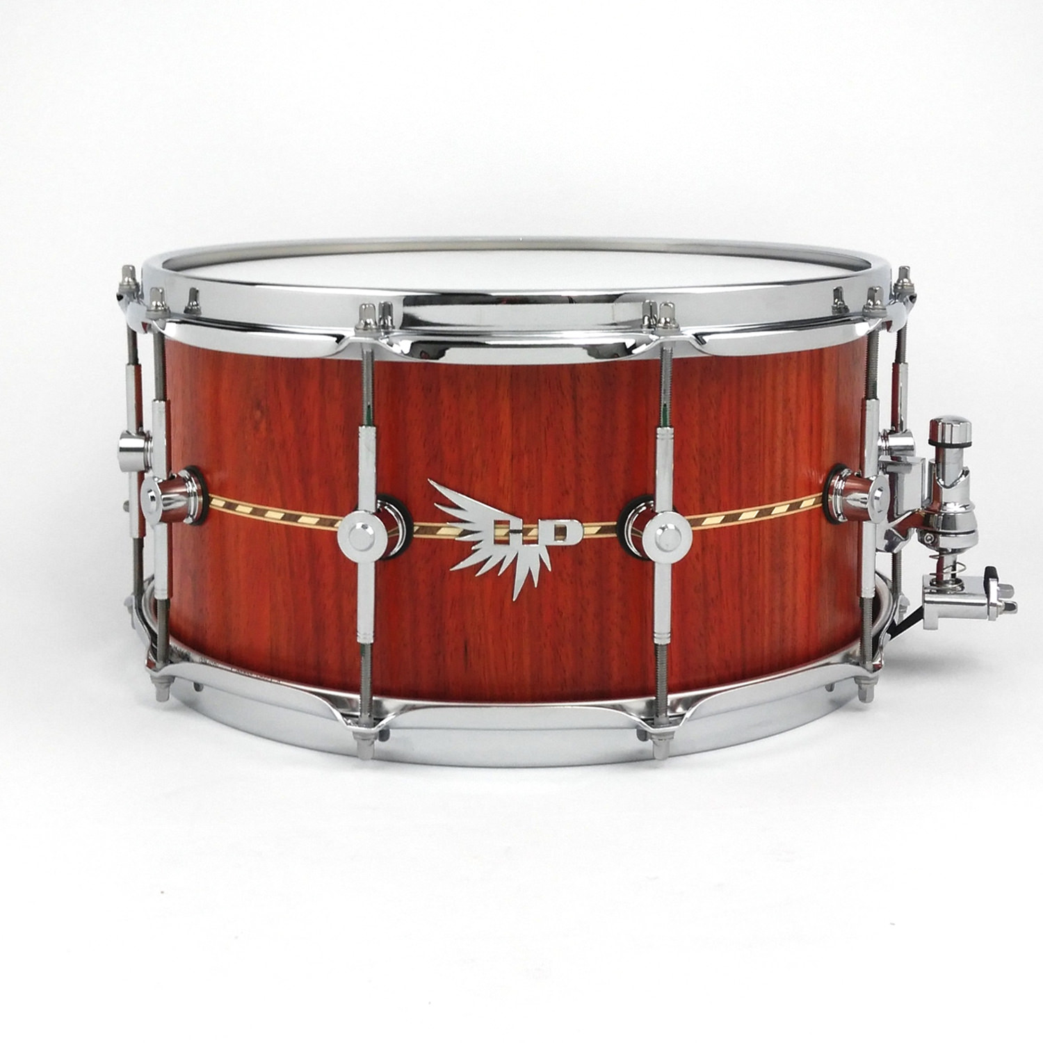 Craviotto Snare Drum Padauk Hendrix Drum HD Stave Steam Bent Inlay