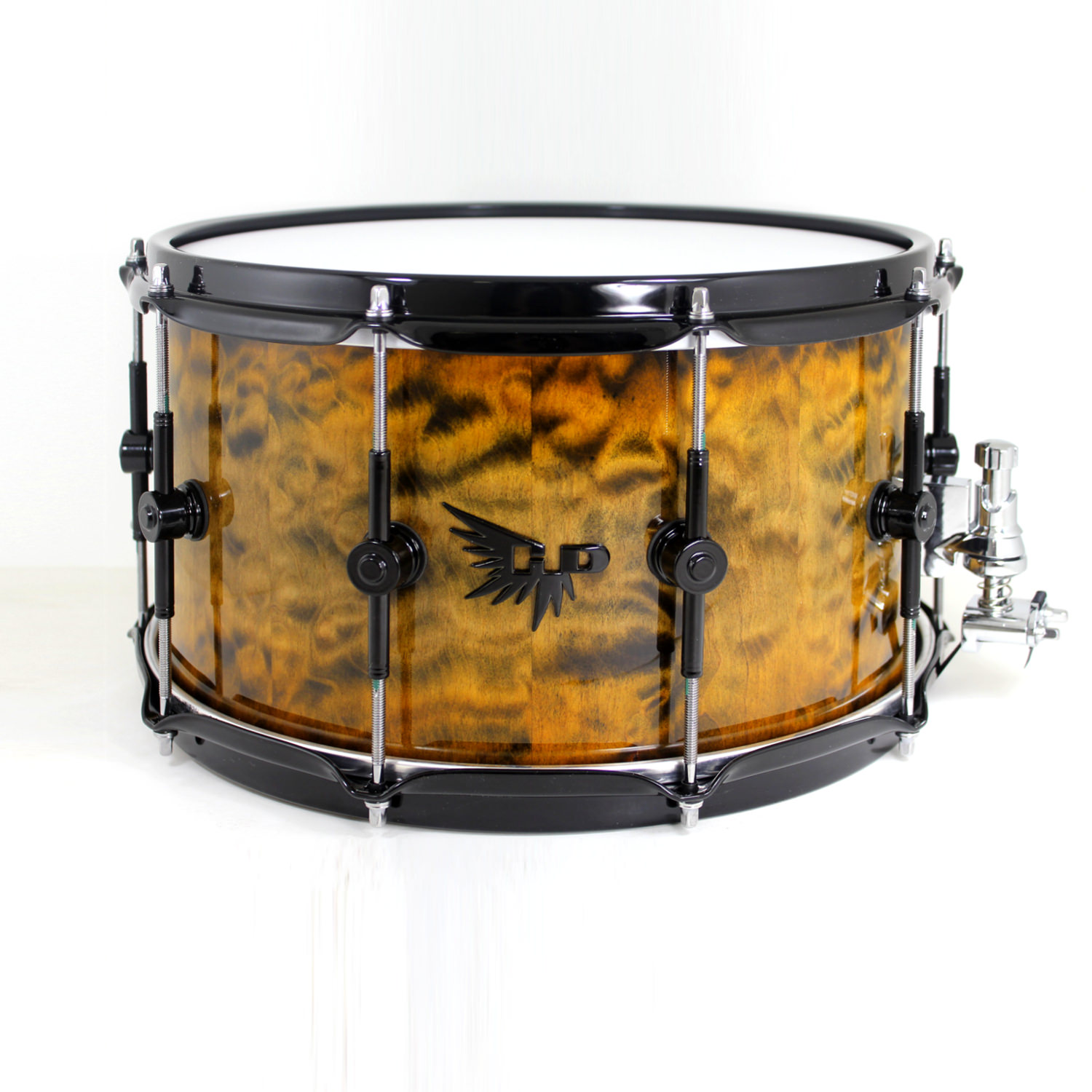 Quilted Maple Orange Snare Drum Hendrix Drum Custom Stave Snare HD Tama DW