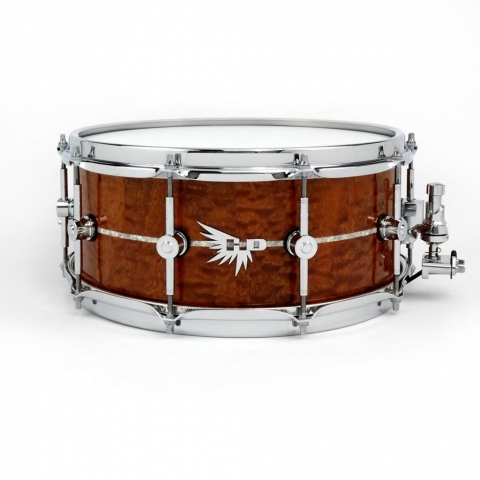 Pommel Sapele Quilted Snare Drum White Marine pearl Inlay Hendrix Drum HD