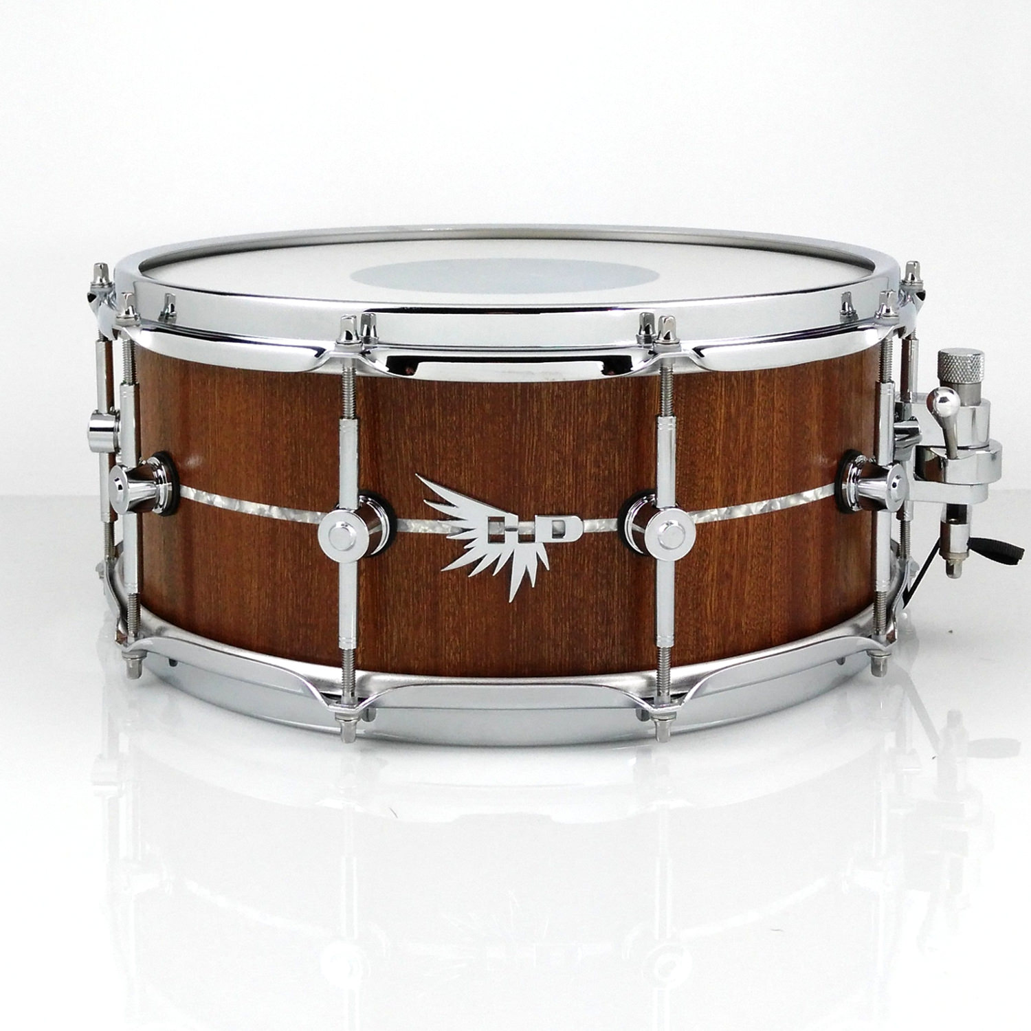 High End Snare Drum Hendrix stave white marine pearl inlay Sapele