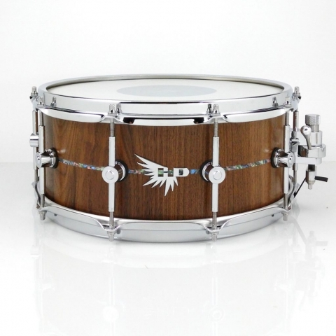 Walnut Snare Drum Dunnett Abalone Inlay Stave Hendrix Drums HD