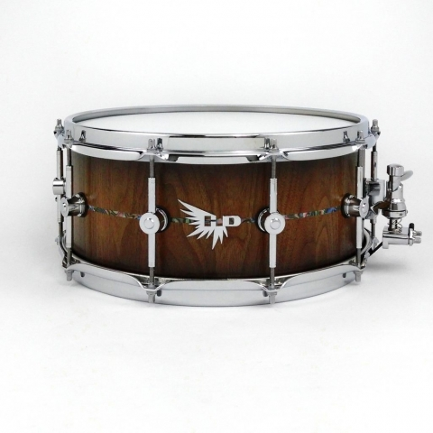 Stave Snare Drum Walnut Abalone Hendrix Drums HD Pearl