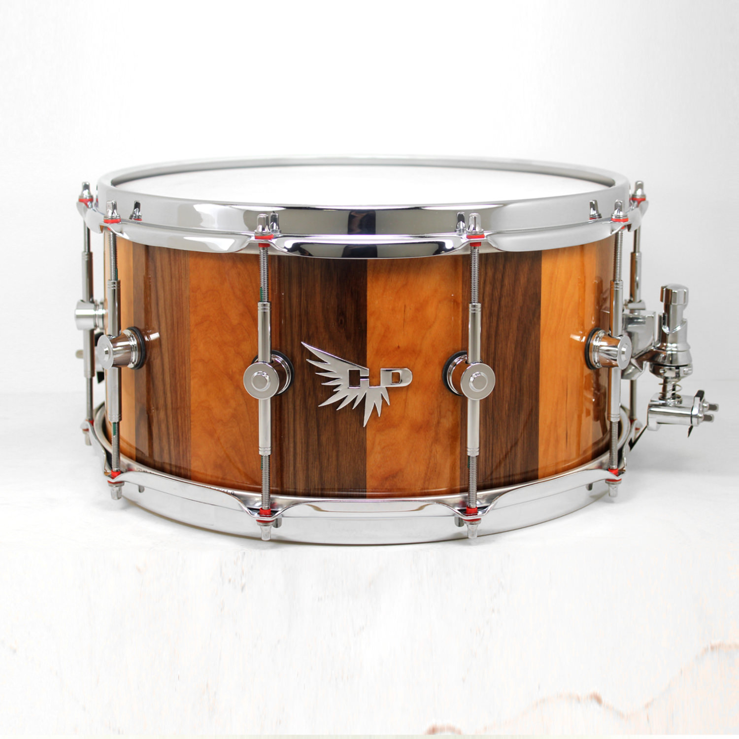 Cherry Walnut Snare Drum Sleeved Washers Hendrix Drums HD Stave