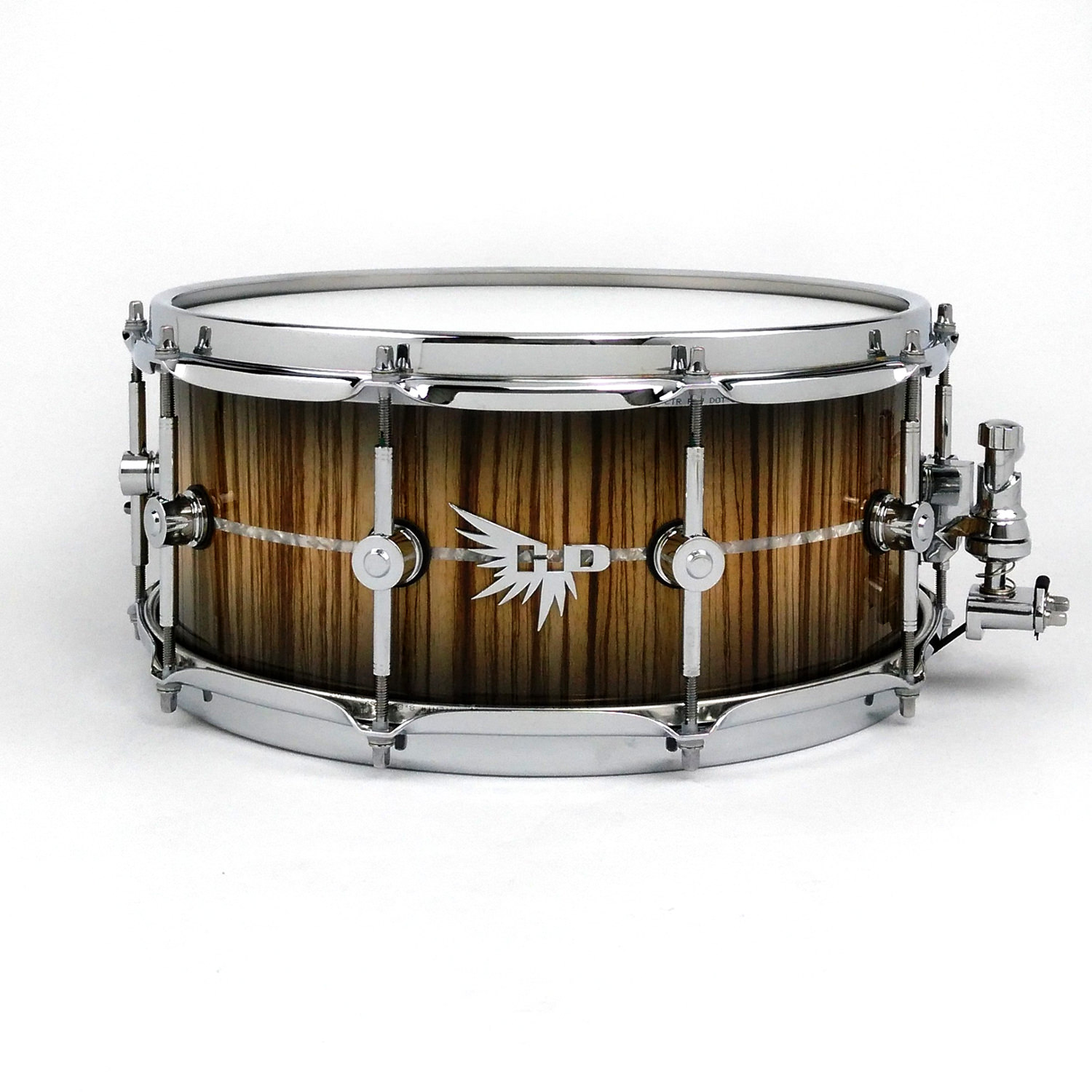 Zebrawood snare drum Hendrix Drums Craviotto DW Inlay HD Stave White Marine Pearl